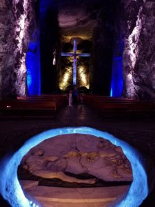 Marble and salt sculptures at the Catedral de Sal (salt cathedral) in Zipaquira, Colombia
