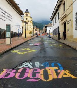 The historic and colorful streets of La Candelaria in Bogota, Colombia